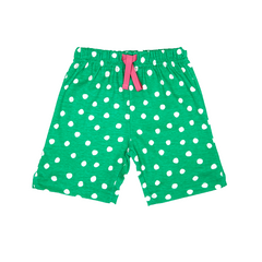 Green And White Dot Shorts - Organic Cotton