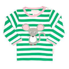 Green and white striped organic girls tshirt with mouse image