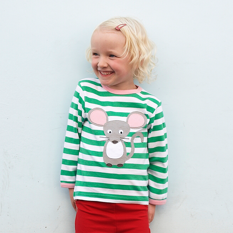 Girl wearing green and white striped organic girls tshirt with mouse image