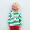 Image of Girl wearing green and white striped organic girls tshirt with mouse image