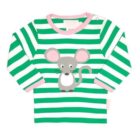 Applique Long-sleeved Mouse With Cheese T-Shirt - Organic Cotton