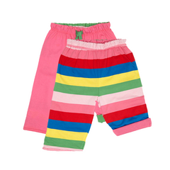 Pink Girly Stripe Reversible Trousers - Organic Cotton