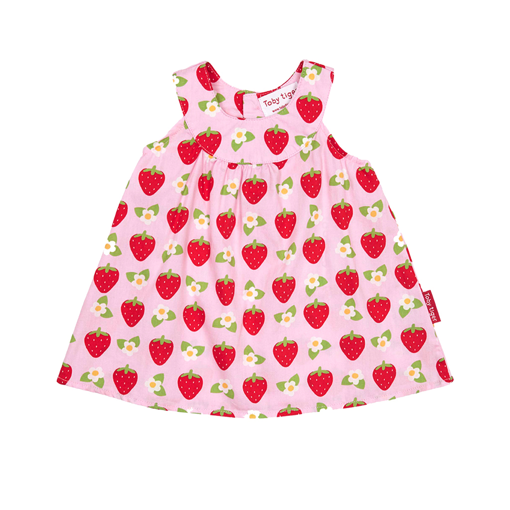 Toby Tiger Strawberry Baby Dress & Pants Set