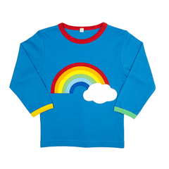 Applique Long-sleeved Rainbow T-Shirt - Organic Cotton