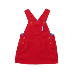 Red Cord Dungaree Dress