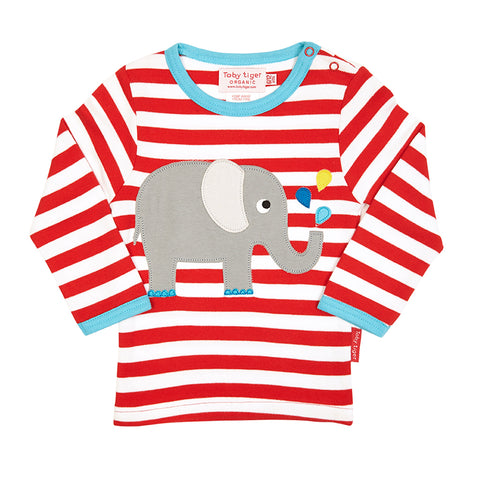 red striped childrens organic tshirt with elephant picture