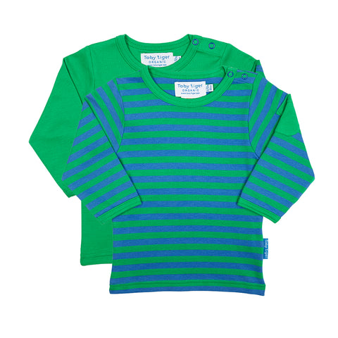 Green Stripe Long-sleeved T-Shirt 2 Pack - Organic Cotton