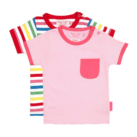 Image of Pink Multi Stripe T-Shirt 2 Pack - Organic Cotton