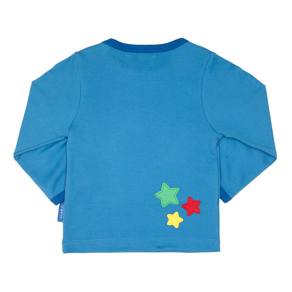 Boys blue organic cotton tshirt with shooting star design