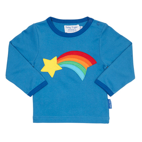Image of Boys blue organic cotton tshirt with shooting star design