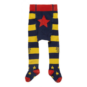 Piccalilly -  Crawler Tights - Blue & Yellow - Organic Cotton