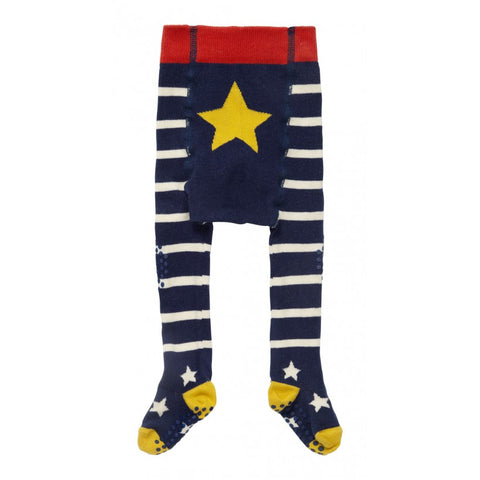 Piccalilly -  Crawler Tights - Blue & White - Organic Cotton