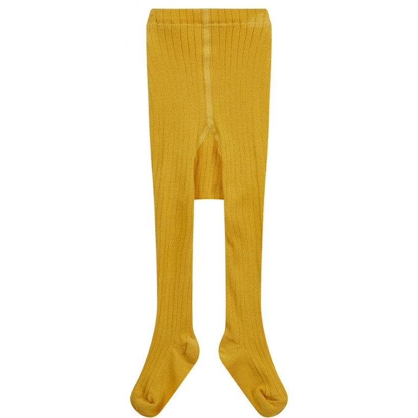 Piccalilly Ribbed Tights - Mustard