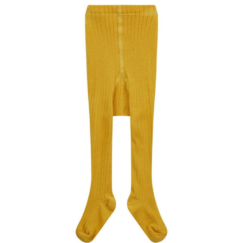 Image of Piccalilly Ribbed Tights - Mustard