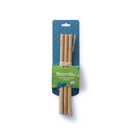 Image of Bambu - Precision Reusable Bamboo Straws - 6 Pack with Brush