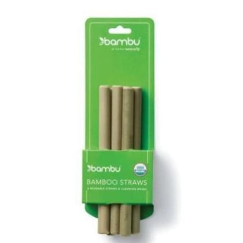 Bambu - Reusable Short Bamboo Straws - 6 Pack with Brush