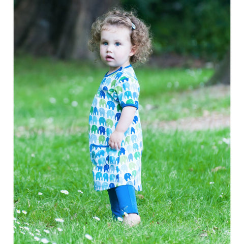 Image of Blue Elly T-Shirt Dress - Organic Cotton - Tilly & Jasper