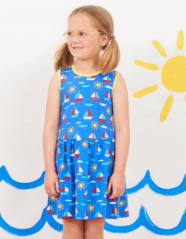 Toby Tiger Boat Print Print Summer Dress