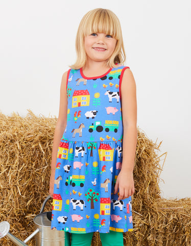 Toby Tiger Farm Print Print Summer Dress