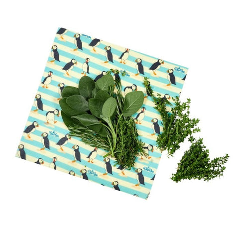 Image of Bee Bee Single Wrap Beeswax Wrap - Puffin