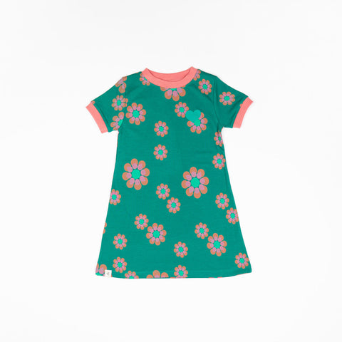 Alba Vida Dress - Alpine Green Flower Power