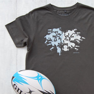 charcoal t-shirt with rugby scrum design