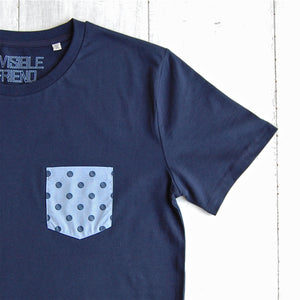 Close up of cricket ball polka dot t-shirt