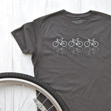 charcoal t-shirt with reflective cycles design
