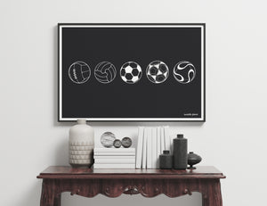 Footballs Through History Art Print