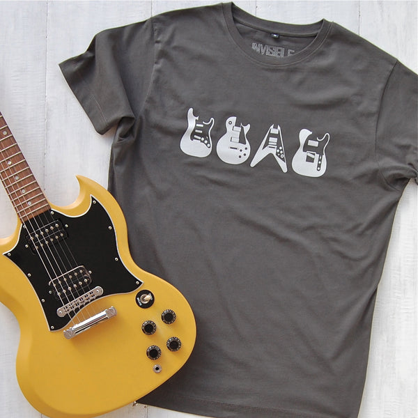 charcoal grey t-shirt with iconic guitars design