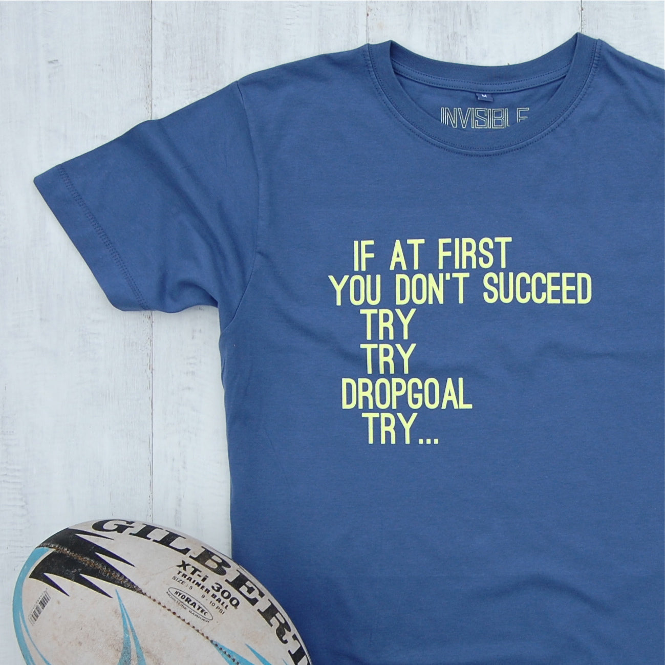 blue t-shirt with rugby try slogan design