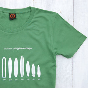 close up of surfboard evolution t-shirt