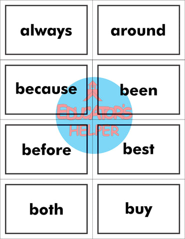 2nd Grade Dolch Sight Word Flash Cards