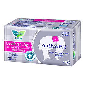 Laurier Active Fit Deodorant Ag+ Pantyliners 36s/12