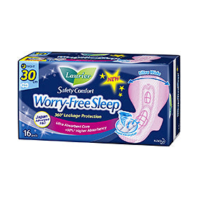Laurier Worry Free Sleep Night Slim Wing 30CM 16s/18