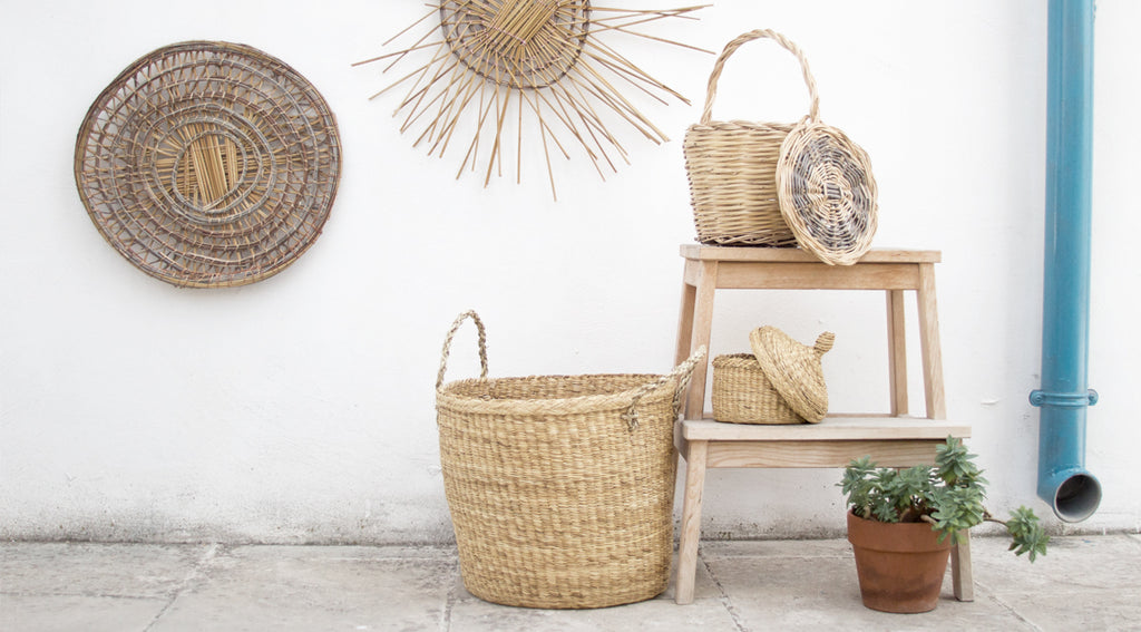 handmade rush baskets and wall decorations