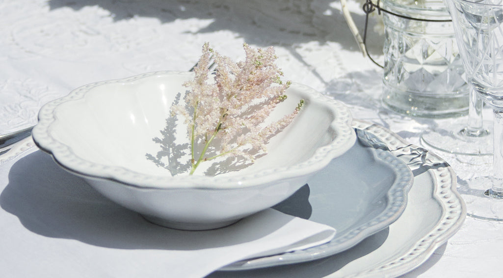 Elegant ceramic dinnerware set made in Apulia