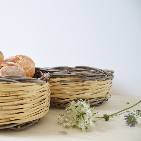 handmade in Italy Bread basket in olive and cane from Apulia Acquarica del Capo Siciliano Italian Handmade