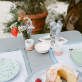 Handmade in Italy Hand-painted linen hemstitch table mat from Apulia