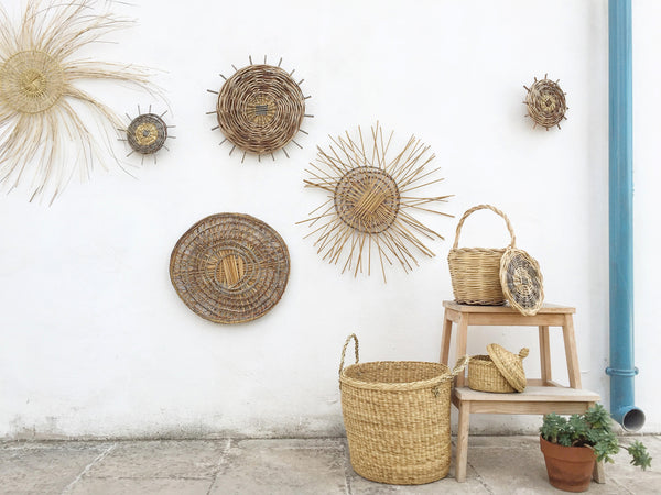 handmade in Italy wall decoration in myrtle, olive and cane from Apulia Acquarica del Capo Siciliano Italian Handmade
