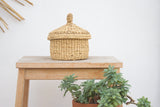 handmade in Italy Trullo-shaped rush basket with lid from Apulia Acquarica del Capo Siciliano Italian Handmade