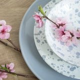 handmade in Italy white dinnerware ceramic set with sky blue drops from Apulia Grottaglie Fasano