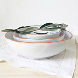 handmade in Italy white rustic ceramic salad bowl from Apulia Grottaglie Fasano