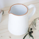 handmade in Italy white rustic ceramic straight jug from Apulia Grottaglie Fasano