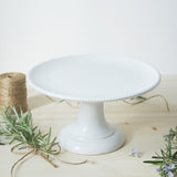 handmade in Italy white ceramic cake stand from Apulia Grottaglie Fasano