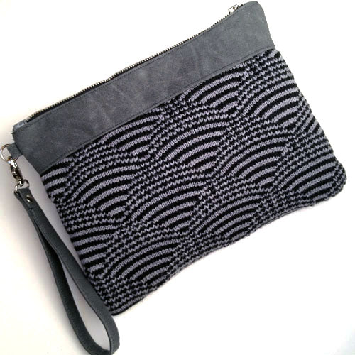 Wool and Waxed Canvas Clutch - Charcoal/Black
