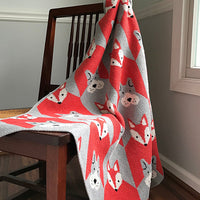 Eco-Tot Blanket: Fox & Houndstooth, Spice