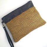 Wool and Waxed Canvas Clutch - Yellow/Black