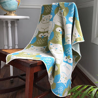 Eco-Tot Blanket: Owl & Pussycat, Blue