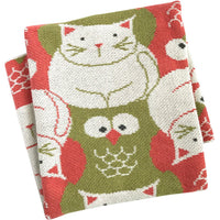 Eco-Tot Blanket: Owl & Pussycat, Coral